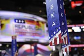 Signatures appear on the Alaska floor marker on day three of the Republican National Convention at the Quicken Loans Arena in Cleveland Ohio on July...