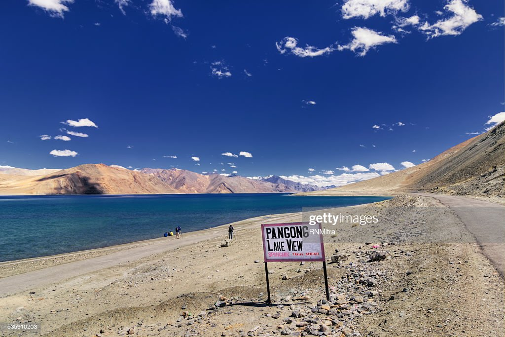 Signboard at Pangong Lake, Leh, Ladakh, Jammu and Kashmir,India : Stock Photo