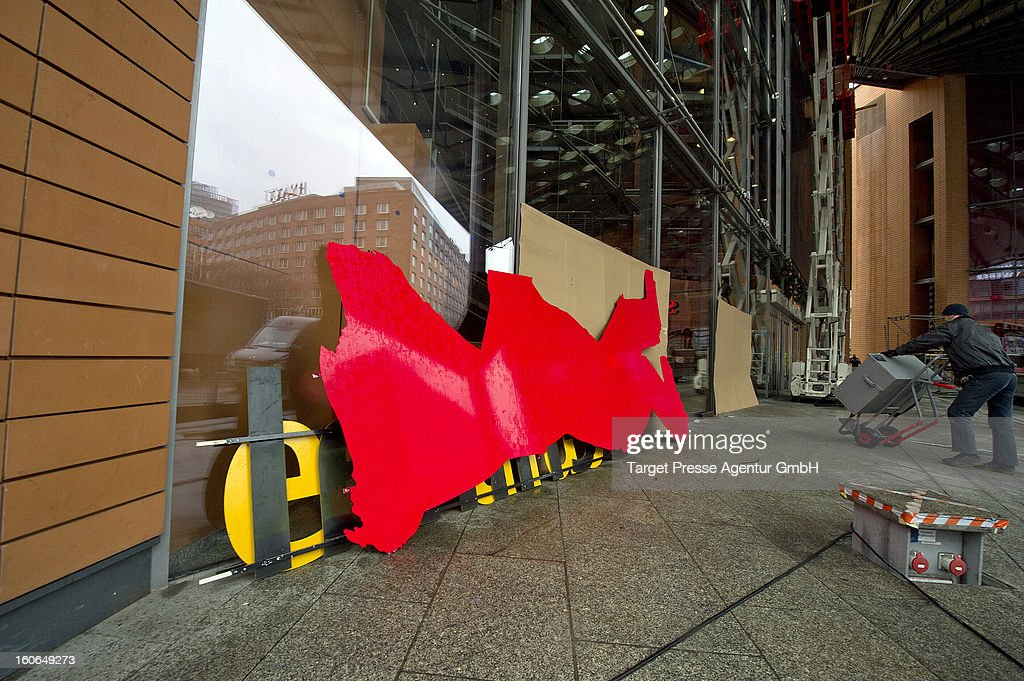 A signboard awaits its assembly for the 63rd Berlinale International Film Festival on February 4, 2013 in Berlin, Germany. The 2013 Berlinale will run from February 7-17, 2013