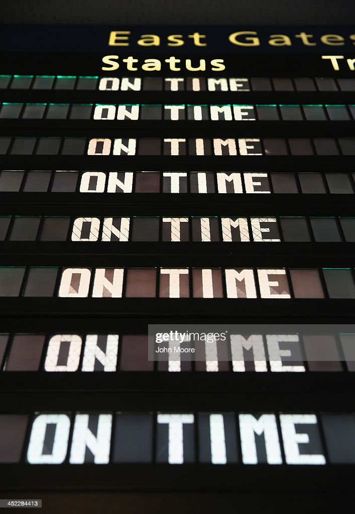 A signboard lists on-time Amtrak train departures at Pennsylvania Station on the busiest travel day of the year November 27, 2013 in New York City. Even on an average day, some 650,000 people transit through Penn Station, twice as many as America's most-used airport in Atlanta and busier than the New York area's three major airports combined.