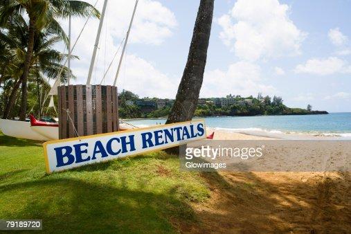 Signboard on the beach, Nawiliwili Beach Park, Kauai, Hawaii Islands, USA : Stock Photo
