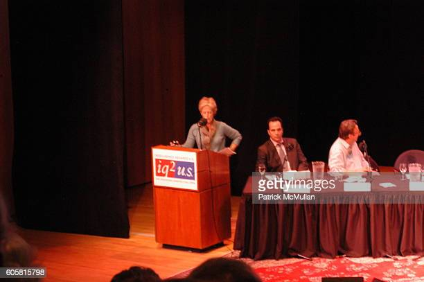 Signe Wilkinson Philip Gourevitch and Christopher Hitchens attend INTELLIGENCE SQUARED presents 'Freedom of Expression Must Include the License to...
