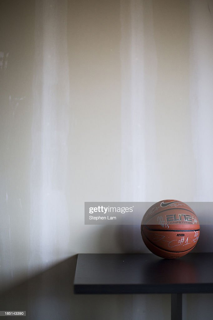 A signed basketball is seen on a table during the PAC-12 Men's Basketball Media Day on October 17, 2013 in San Francisco, California.