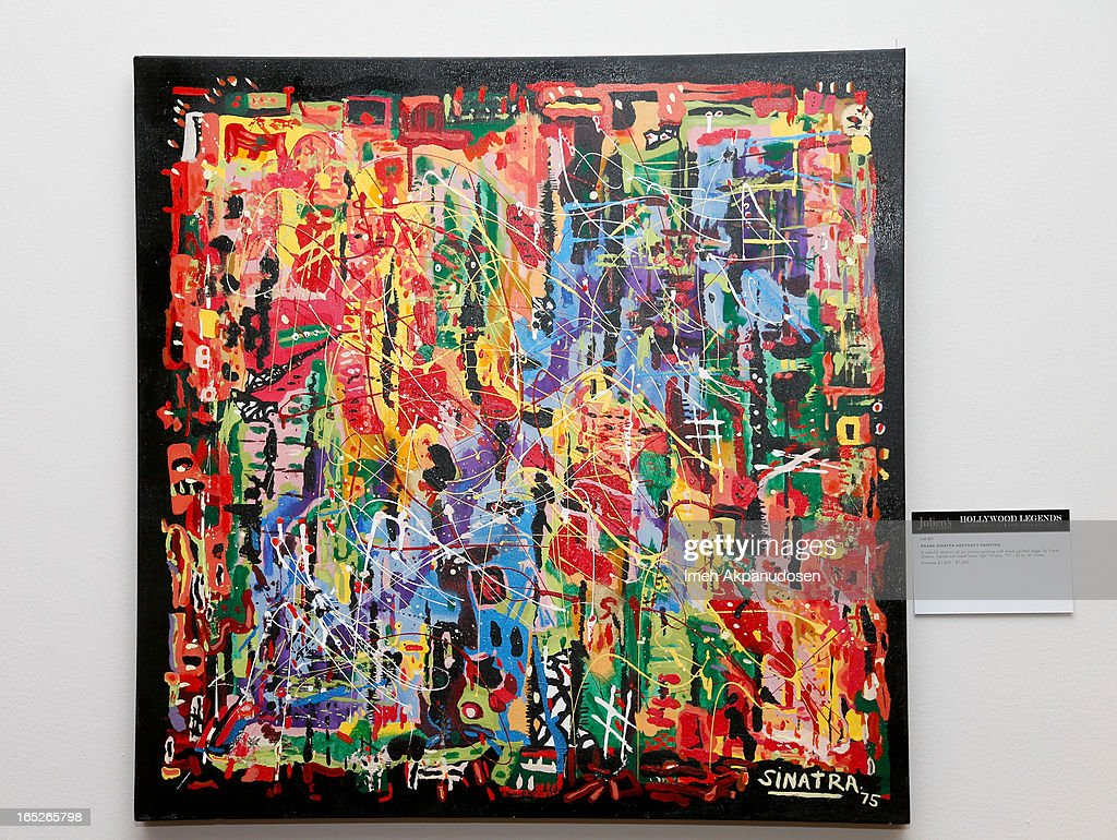 A signed colorful abstract oil on canvas painting with black painted edges by Frank Sinatra on display during the 'Hollywood Legends' auction preview at Julien's Auctions Gallery on April 1, 2013 in Beverly Hills, California.