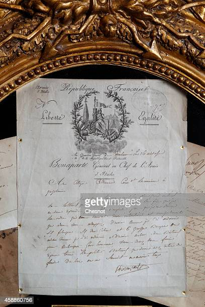 A signed letter of Napoleon from the Napoleonic collection of the Palais de Monaco is displayed on November 12 2014 in Fontainebleau France The sale...
