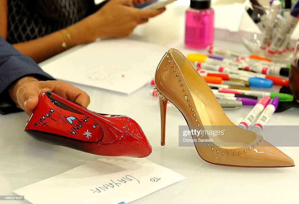 Signed shoes are seen at the Christian Louboutin personal appearance and shoe signing at Saks Fifth Avenue Beverly Hills on November 10, 2015 in Beverly Hills, California.