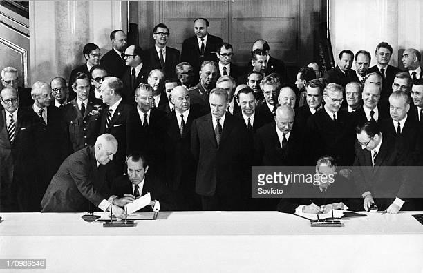 Signing of stratetic arms limitation talks treaty in the kremlin moscow ussr on may 26th principle signatories richard nixon president of the united...