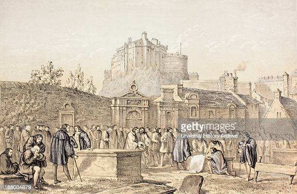 Signing The Covenant In Greyfriars Churchyard Edinburgh Scotland In 1638 From The Scots Worthies According To Howie's Second Edition 1781 Published...