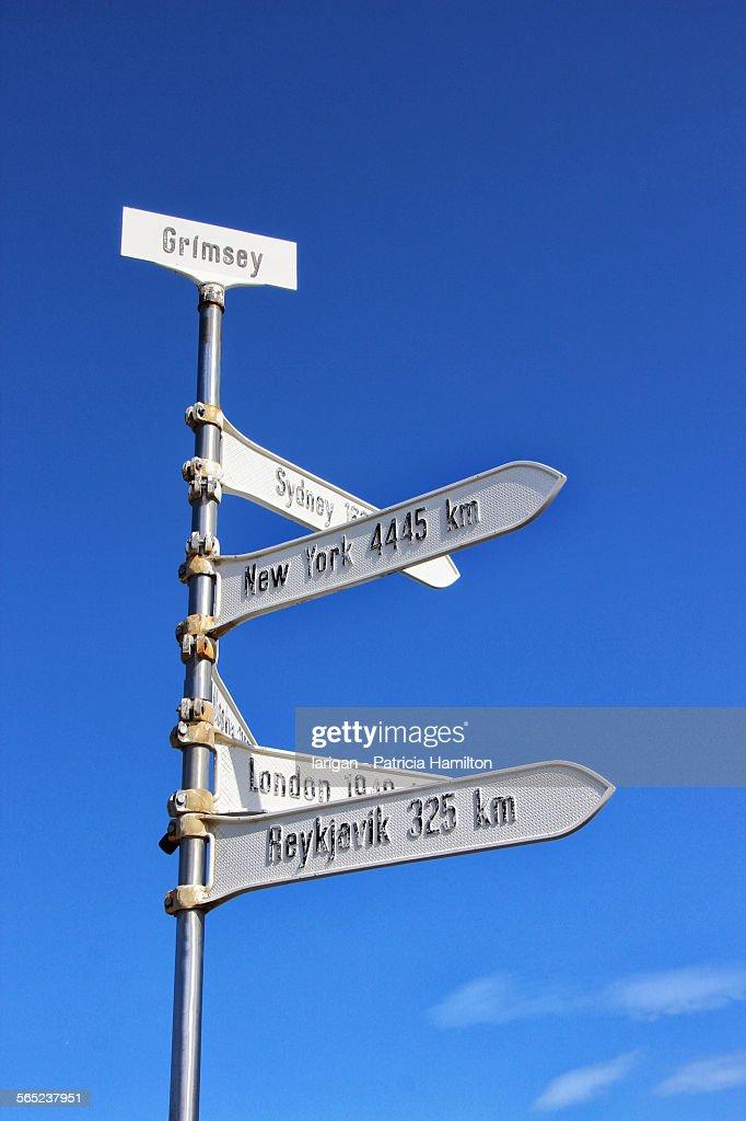 Signpost marking Arctic Circle at Grimsey