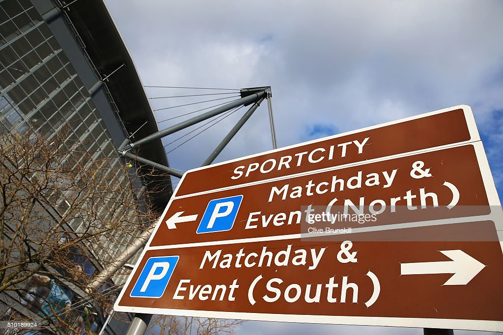 A signpost outside the ground is pictured prior to the Barclays Premier League match between Manchester City and Tottenham Hotspur at Etihad Stadium on February 14, 2016 in Manchester, England.