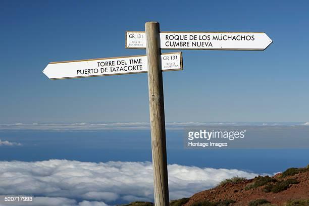 Signpost Parque Nacional de la Caldera de Taburiente La Palma Canary Islands Spain 2009