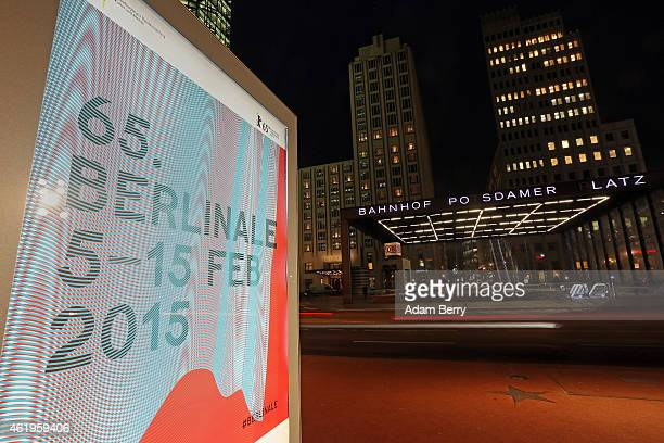 Signs advertise the Berlin International Film Festival the Berlinale on January 22 2015 in Berlin Germany The 65th Berlinale film festival will run...