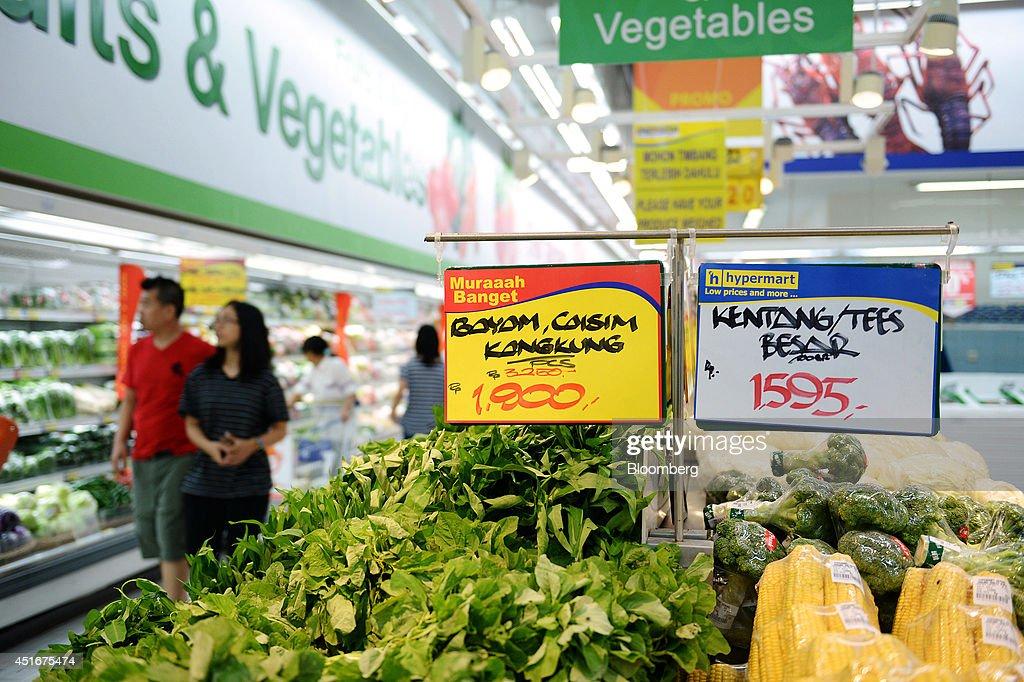 Shoppers Inside A Hypermart Supermarket