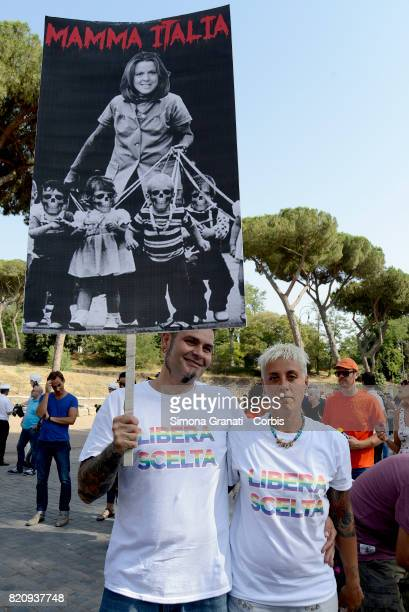 Signs against Minister Beatrice Lorenzin during the national demonstration against compulsory vaccination law and for free choice on July 22 2017 in...