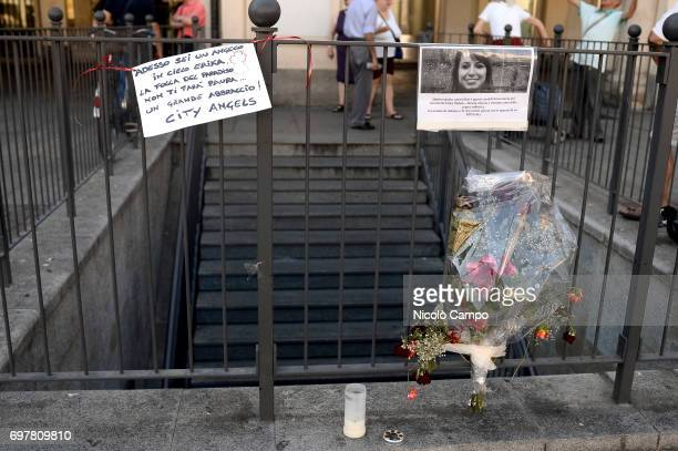 Signs and flowers in memory of Erika Pioletti who has died on June 16 from injuries sustained at the Champions League final stampede in Turins Piazza...