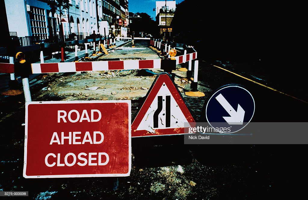 Signs and Roadworks in Street