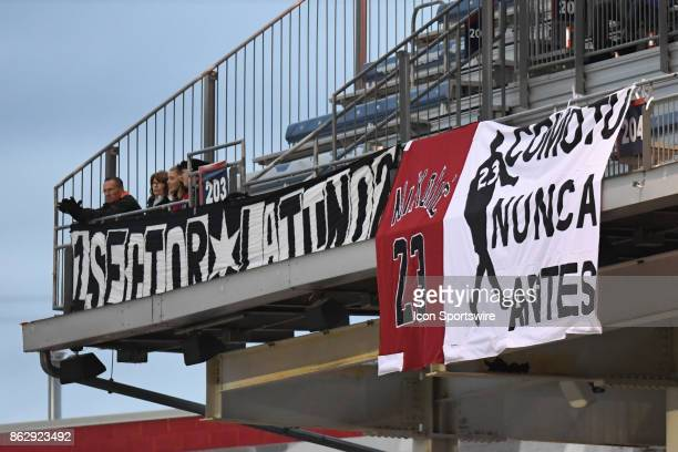 Signs are seen supporting Chicago Fire forward Nemanja Nikolic during a game between the Philadelphia Union and the Chicago Fire on October 15 at...