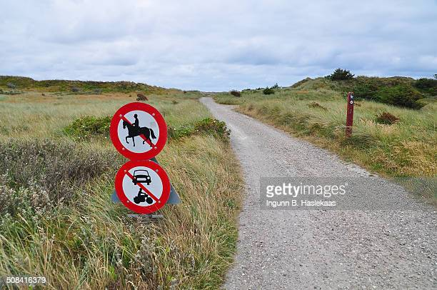 Signs by a walking trail in Jylland