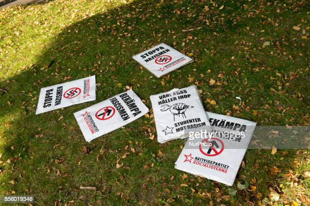 Signs confiscated by Gothenburg police in a clash with antifascist protesters as members of the Nordic Resistance Movement tried to march through...