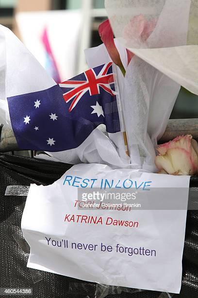 Signs flags and flowers that were placed at memorial site at Martin Place on December 16 2014 in Sydney Australia Sydney siege gunman Man Haron Monis...
