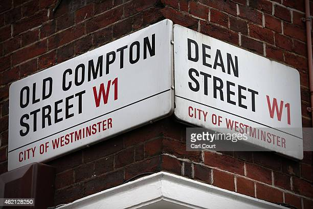 Signs for Dean Street and Old Compton Street are seen in Soho on January 21 2015 in London England A growing number of campaigners including Stephen...