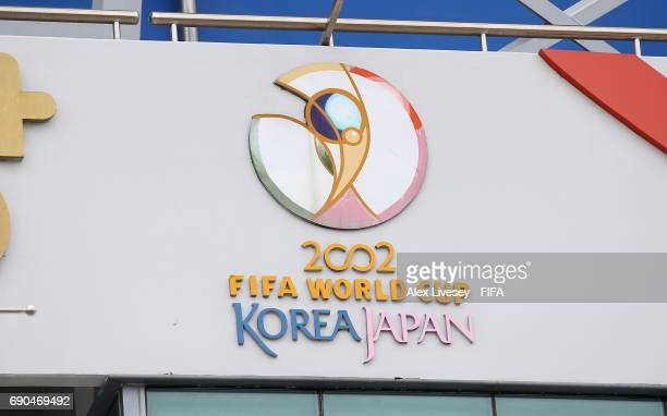 Signs from the 2002 FIFA World Cup are seen around the Daejeon World Cup Stadium during the FIFA U20 World Cup Korea Republic 2017 Round of 16 match...
