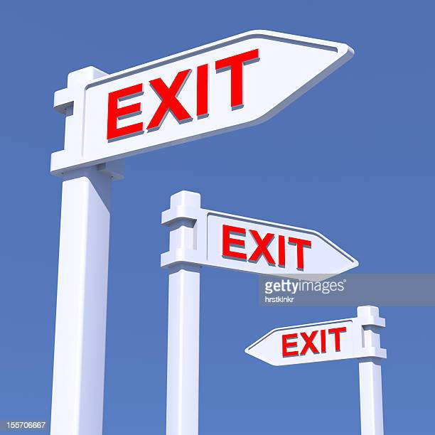 EXIT signs in different directions, CGI concept, XXL
