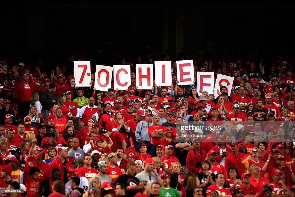 Signs in the crowd celebrate the Chiefs 17-16 victory over the Houston Texans to advance their record to 7-0 during the game at Arrowhead Stadium on October 20, 2013 in Kansas City, Missouri.