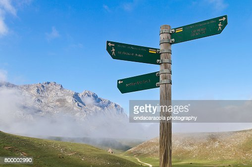 Signs in the mountain : Stock Photo
