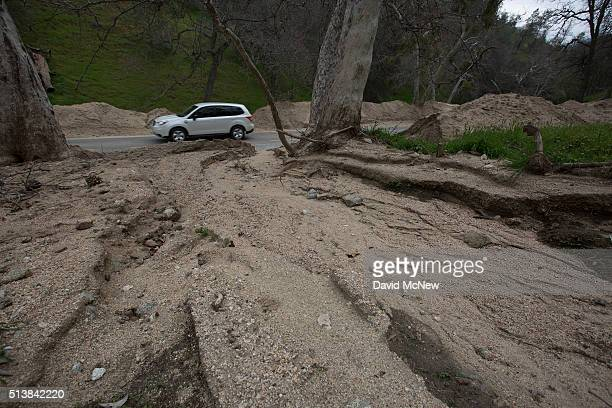 Signs of flooding are seen near Caliente on March 4 2016 west of Tehachapi California Despite hopes that the major El Nino effect would bring...