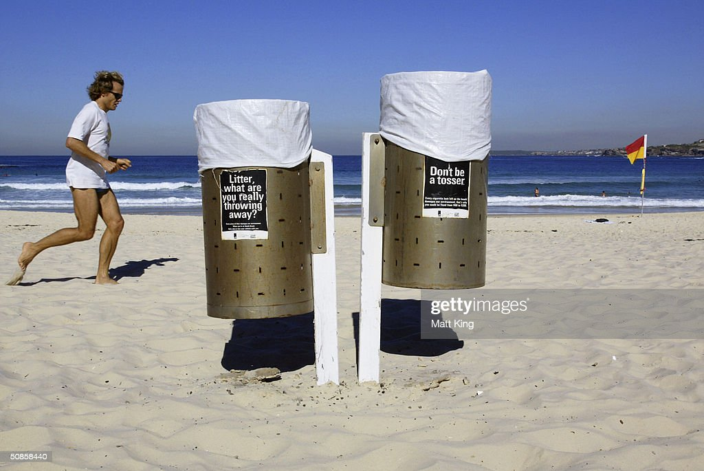 Signs on garbage bins encourage the responsible disposal of rubbish, including cigarette butts, on Bondi Beach May 20, 2004 in Sydney, Australia. Waverley Council has passed a motion to investigate the legalities and enforcement of a smoking ban on the Council's beaches, including Bondi, after Manly Council recently outlawed smoking on beaches, making it the first place in the world outside Los Angeles to do so. Data from Clean Up Australia showed 32 billion cigarette butts were dropped in Australia each year, and that at any given time there were 700,000 on Bondi Beach.