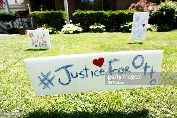 Signs on the front lawn of Lauren Wadds Wyoming Ohio home proclaims '#Justice For Otto' as the the town of Wyoming prepares for the funeral of Otto...