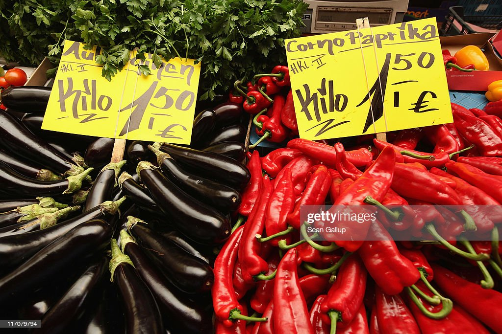 Signs show the prices in Euros for eggplant and paprikas at a fruit and vegetable stand on June 21, 2011 in Berlin, Germany. Eurozone finance ministers are currently seeking to find a solution to Greece's pressing debt problems, including the prospect of the country's inability to meet its financial obligations unless it gets a fresh, multi-billion Euro loan by July 1. Greece's increasing tilt towards bankruptcy is rattling worldwide financial markets, and leading economists warn that bankruptcy would endanger the stability of the Euro and have dire global consequences.