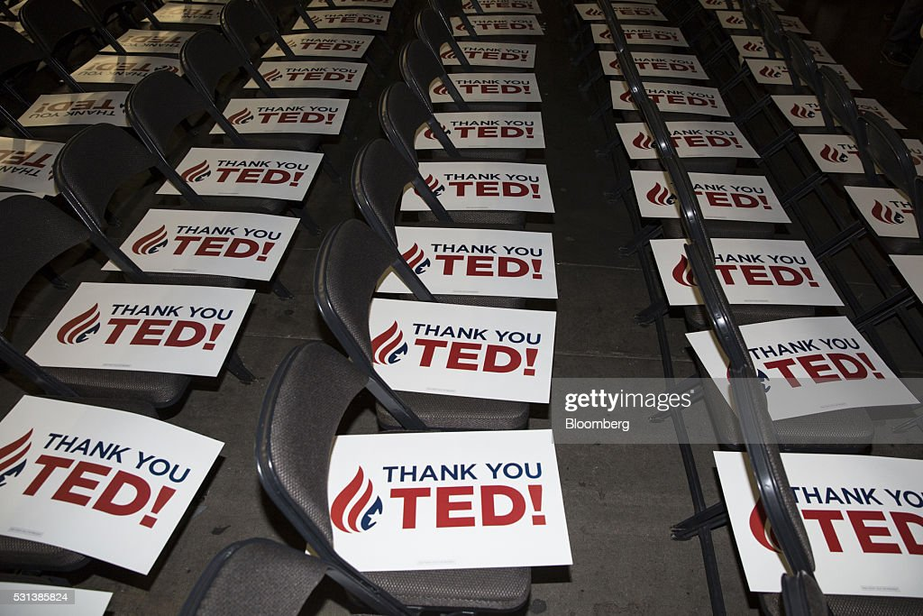 Signs sit on folding chairs before a speech by Senator Ted Cruz a Republican from Texas and former 2016 presidential candidate during the 2016 Texas...