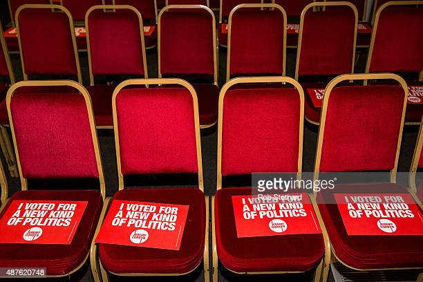 Signs supporting Jeremy Corbyn MP for Islington North and candidate in the Labour Party leadership election are seen on chairs ahead of speaches at...