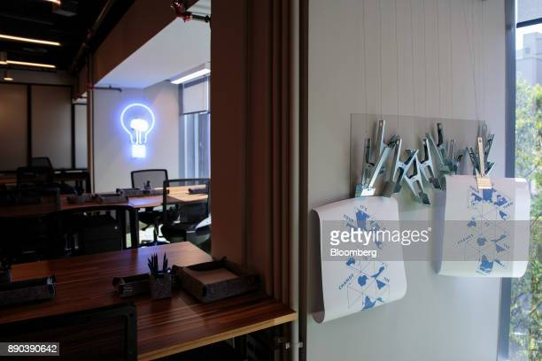 Signs that read 'It's Your Turn To Change The World' hang on display in a classroom at the Facebook Inc Hack Station in Sao Paulo Brazil on Monday...