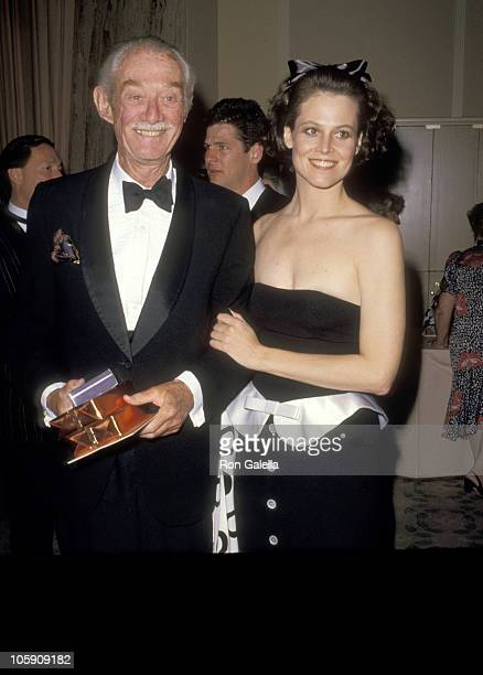 Sigourney Weaver and Sylvester 'Pat' Weaver during 59th Annual Academy Awards Governor's Ball at Beverly Hilton Hotel in Beverly Hills California...
