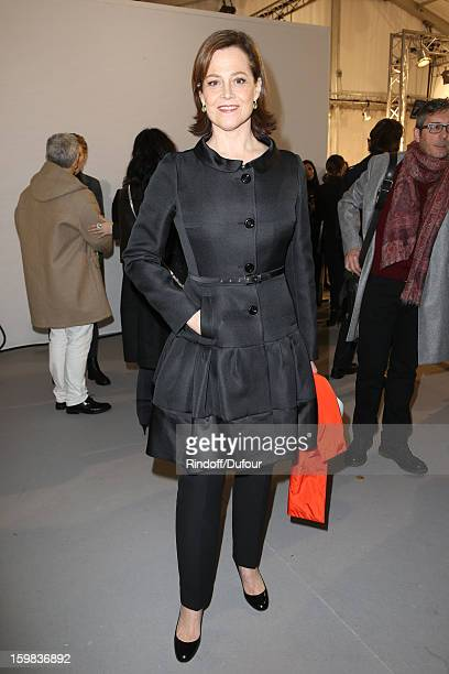 Sigourney Weaver attends in Backstage the Christian Dior Spring/Summer 2013 HauteCouture show as part of Paris Fashion Week at on January 21 2013 in...