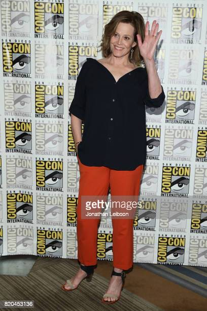 Sigourney Weaver attends Marvel's 'The Defenders' press line at ComicCon International 2017 day 2 on July 21 2017 in San Diego California