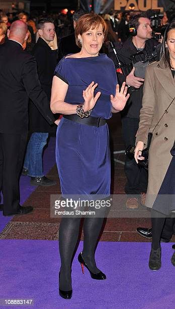 Sigourney Weaver attends the world premiere of 'Paul' at The Empire Cinema on February 7 2011 in London England