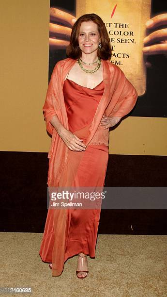 Sigourney Weaver during 'The Village' New York Premiere Arrivals at Prospect Park in New York City New York United States