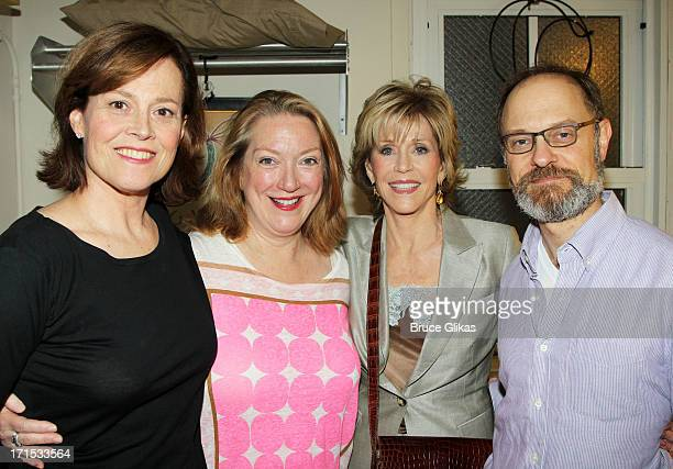 Sigourney Weaver Kristine Nielsen Jane Fonda and David Hyde Pierce pose backstage at 'Vanya and Sonia and Masha and Spike' on Broadway at The Golden...