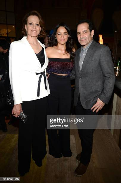 Sigourney Weaver Michelle Rodriguez and Tony Shalhoub attend 'The Assignment' New York screening after party at the Whitby Hotel on April 3 2017 in...