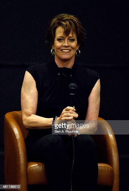 Sigourney Weaver speaks during the London Film and Comic Con at Olympia Exhibition Centre on July 18 2015 in London England
