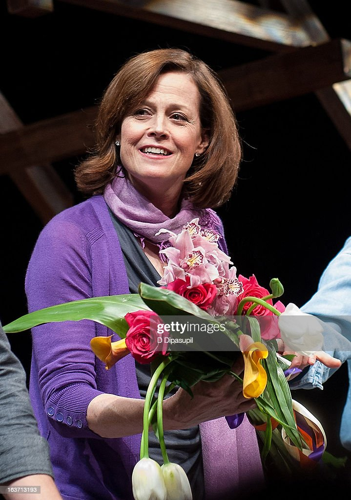 <a gi-track='captionPersonalityLinkClicked' href=/galleries/search?phrase=Sigourney+Weaver&family=editorial&specificpeople=201647 ng-click='$event.stopPropagation()'>Sigourney Weaver</a> takes her curtain call during the 'Vanya And Sonia And Masha And Spike' Broadway Opening Night at The Golden Theatre on March 14, 2013 in New York City.