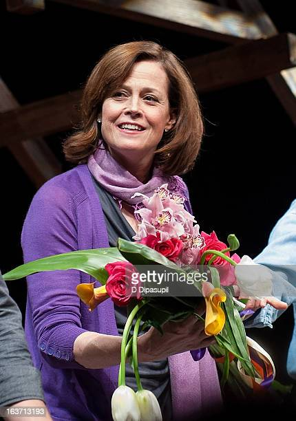 Sigourney Weaver takes her curtain call during the 'Vanya And Sonia And Masha And Spike' Broadway Opening Night at The Golden Theatre on March 14...