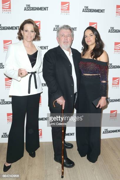 Sigourney Weaver Walter Hill and Michelle Rodriguez attend the New York screening of 'The Assignment' at the Whitby Hotel on April 3 2017 in New York...