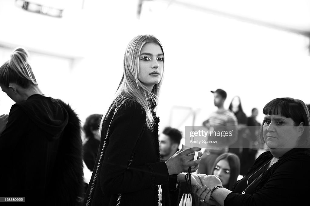 Sigrid Agren is seen backstage before the Chanel Fall/Winter 2013/14 Ready-to-Wear show as part of Paris Fashion Week at Grand Palais on March 5, 2013 in Paris, France.