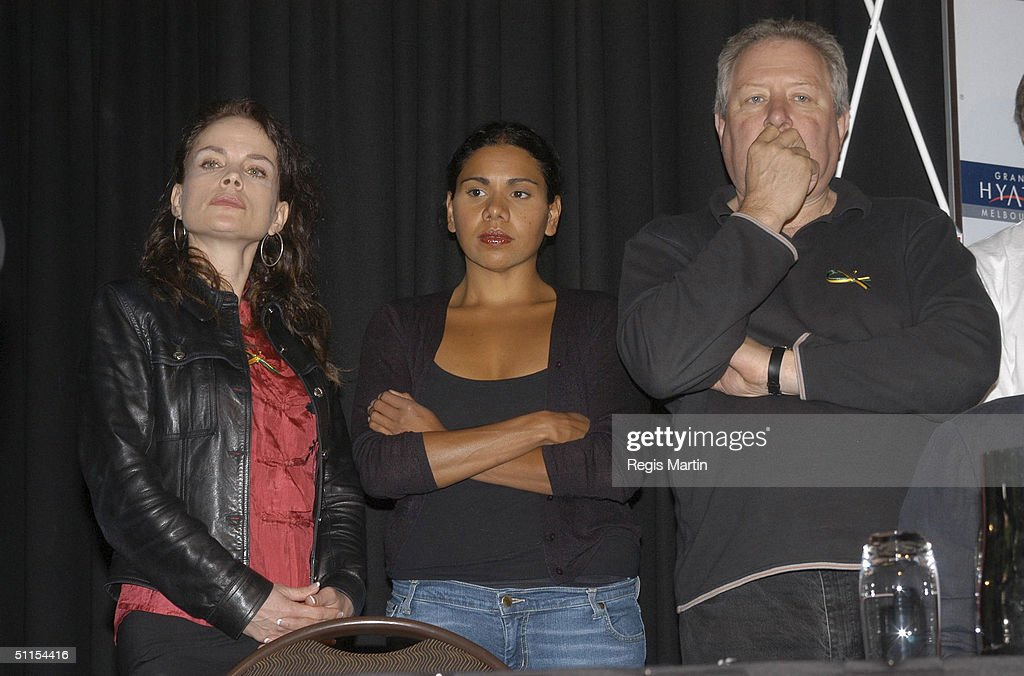 Sigrid Thornton Deborah Mailman and John Wood at a press conference about Australian culture confirmed as bargaining chip in free trade agreement...