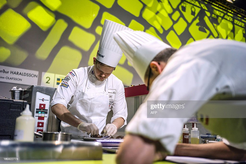 Sigurdur Haraldsson of Iceland competes in the 14th world final of the international culinary competition of the Bocuse d'Or (Golden Bocuse), on January 29, 2013 in Chassieu, central eastern France.